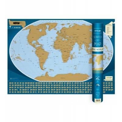 Scratch-off map The World, mapa zdrapka 1:50 000 000